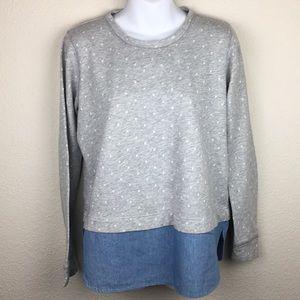 J. Crew gray polka dot chambray sweater shirt